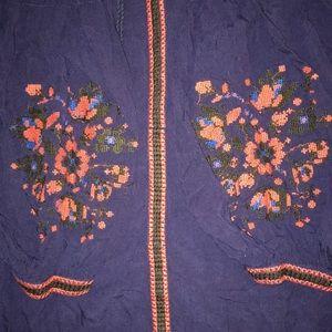 Women's XL Boho Hippie Peasant embroidered Blouse